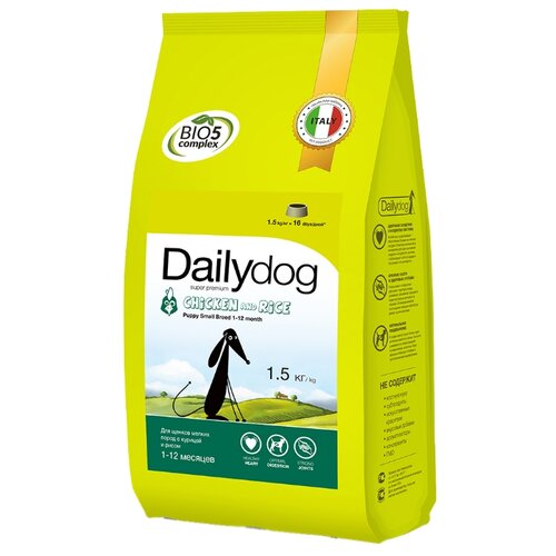 Сухой корм для щенков Dailydog курица с рисом 1.5 кг (для мелких пород) сухой корм для щенков zooring с пробиотиками утка с рисом 20 кг для мелких пород