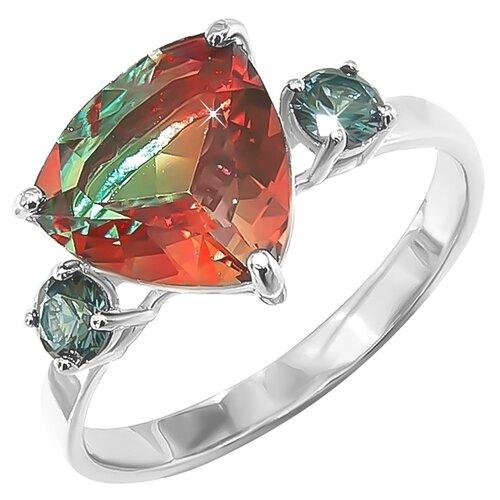 POKROVSKY Серебряное кольцо с ювелирным стеклом оранжево-зеленым и зелеными фианитами 1100853-10355, размер 17.5 серебряное кольцо с фианитами и муранским стеклом лазурного цвета