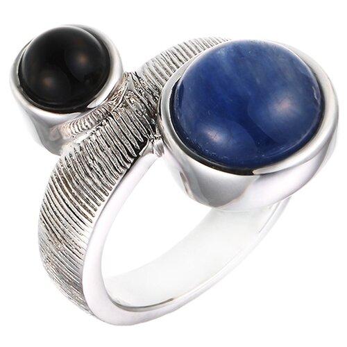 цена на JV Кольцо с ониксом, кианитом из серебра SR00245-4-KI-OX-WG, размер 16.5