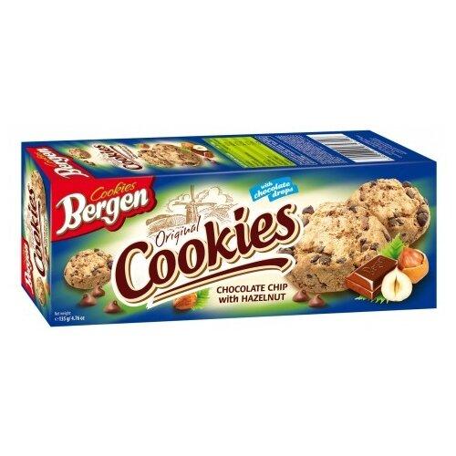 цена на Печенье Bergen Original cookies Chocolate chip with Hazelnut 135 г