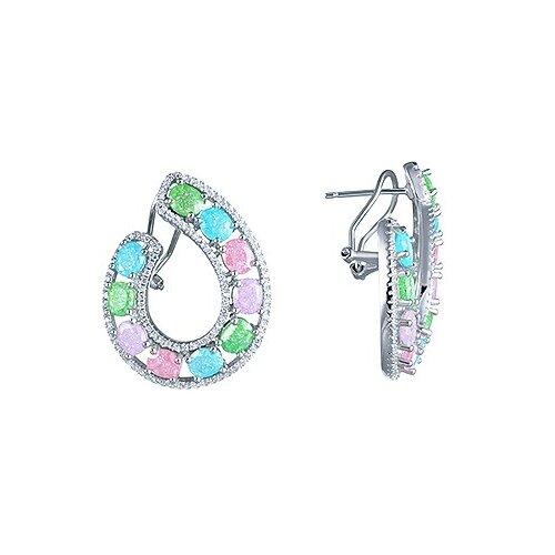 JV Серебряные серьги с кубическим цирконием, ювелирным стеклом CASE2184-US-001-WG