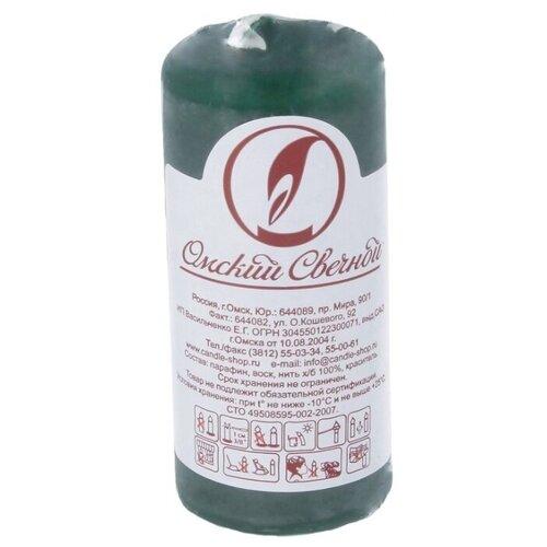 Свеча Омский Свечной Пеньковая 4 х 9 см темно-зеленый