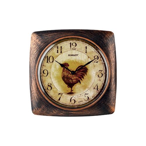 Часы настенные кварцевые Scarlett SC-WC1003K золотистый/коричневый