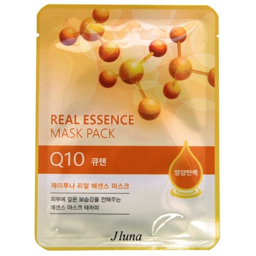 Фото - Juno тканевая маска Real Essence Mask Pack с экстрактом Q10, 25 мл маска тканевая juno j luna q10 для лица 3 шт 25 мл