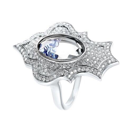 Фото - JV Кольцо с стеклом и фианитами из серебра A8009-KO-CRYST-001-WG, размер 16 jv кольцо с фианитами из серебра car2926 ko 004 wg размер 16