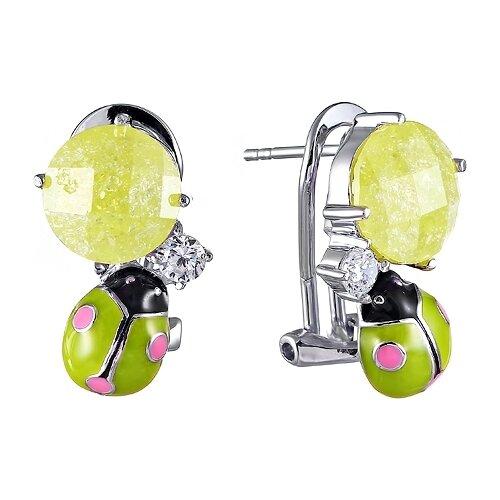 JV Серьги с эмалью, фианитами и стеклом из серебра ZE3110-SR-ENAM-US-001-WG серьги element47 by jv as00009e sr enam wg