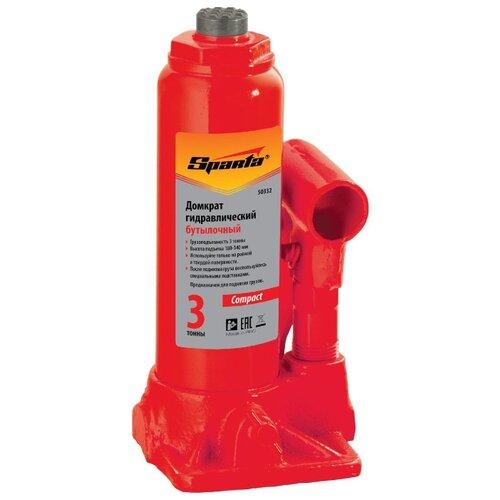 Домкрат бутылочный гидравлический Sparta Compact 50332 (3 т) красный