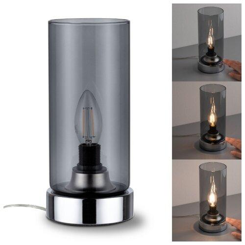Настольная лампа Pinja Tischl.max 1x40W E14 Chrom/Rauchgl 77056
