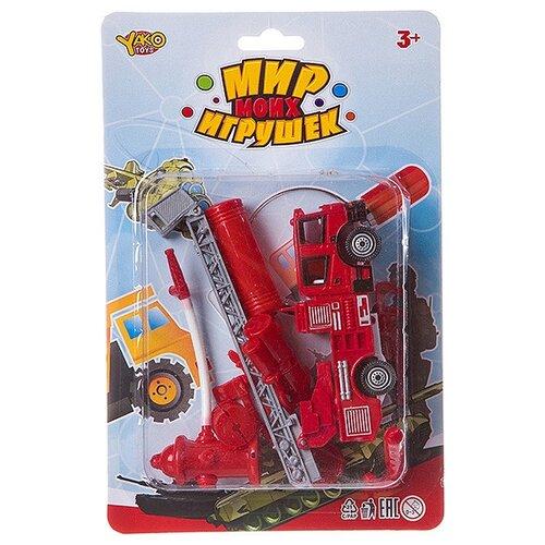 Фото - Пожарный автомобиль Yako Мир моих игрушек (B88727) красный набор машин yako мир моих игрушек m7558 1 белый