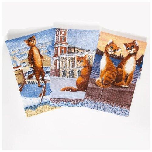 Набор полотенец из рогожки Питерские коты ; Размер: 45 х 60