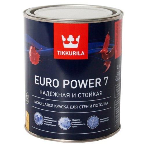 Краска Tikkurila Euro Power 7 (База C) для детской моющаяся матовая бесцветный 0.9 л краска в д tikkurila для обоев и стен моющаяся euro trend матовая 0 9л база a