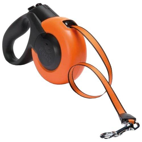 Поводок-рулетка для собак Fida Mars ленточная (S) оранжевый/черный 5 мПоводки для собак<br>
