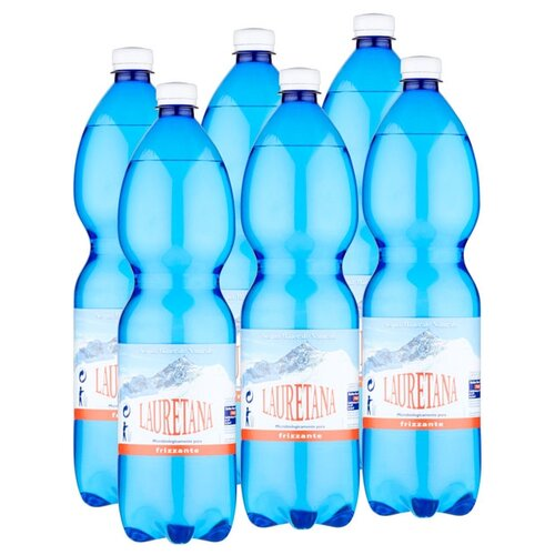 Вода минеральная Lauretana слабогазированная, ПЭТ, 6 шт. по 1.5 л
