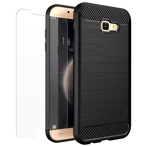 Чехол UVOO Carbon Design + Защитное стекло для Samsung Galaxy A3 2017 (U000916SAM) черный