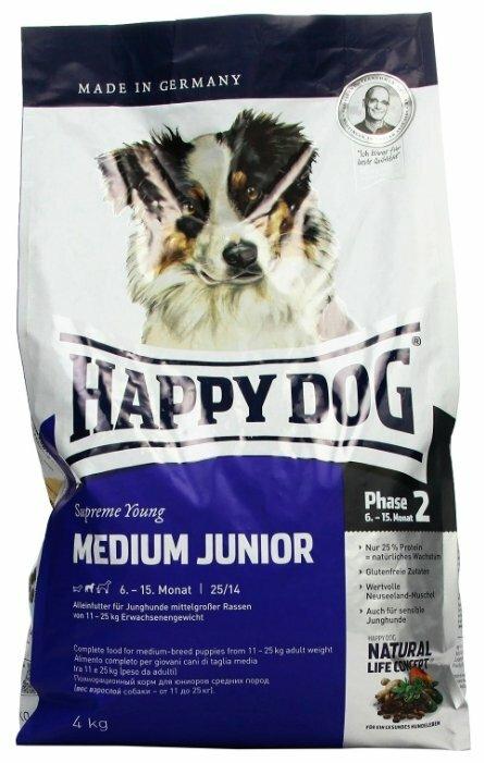 Корм для щенков Happy Dog Supreme Young GR 25 лосось 4 кг (для средних пород)