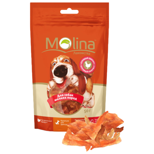 Лакомство для собак Molina для мелких пород Куриный хворост, 50 г лакомство для собак molina утиный хворост 80г