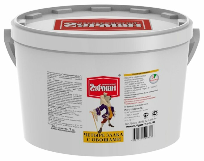 Корм для собак Четвероногий Гурман Четыре злака 1 кг