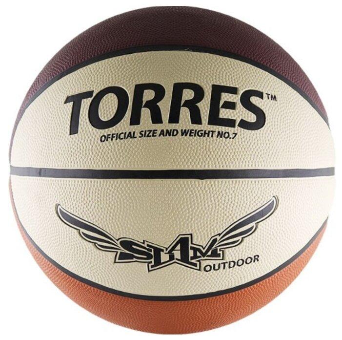 1321deca Баскетбольный мяч TORRES B00067, р. 7 бежевый/бордовый/оранжевый