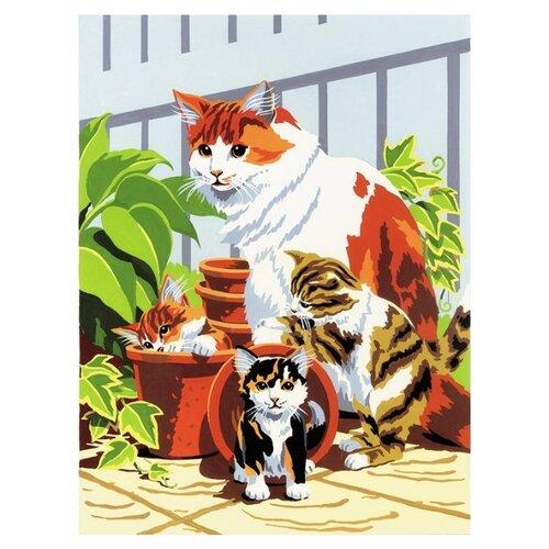 Купить Royal & Langnickel Картина по номерам Кошка с котятами 22х29 см (PJS 31), Картины по номерам и контурам