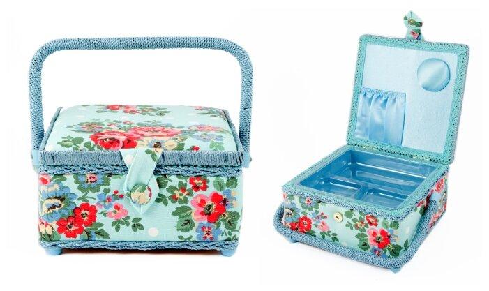 Шкатулка Русские подарки для рукоделия 26х19х15 см голубой/цветы