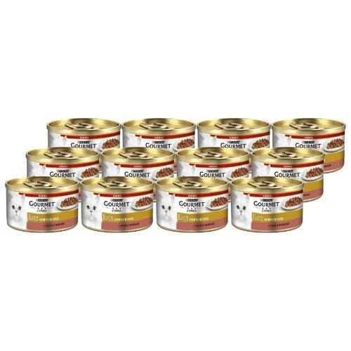 Корм для кошек Gourmet (0.085 кг) 12 шт. Gold Кусочки в соусе с уткой и оливкамиКорма для кошек<br>