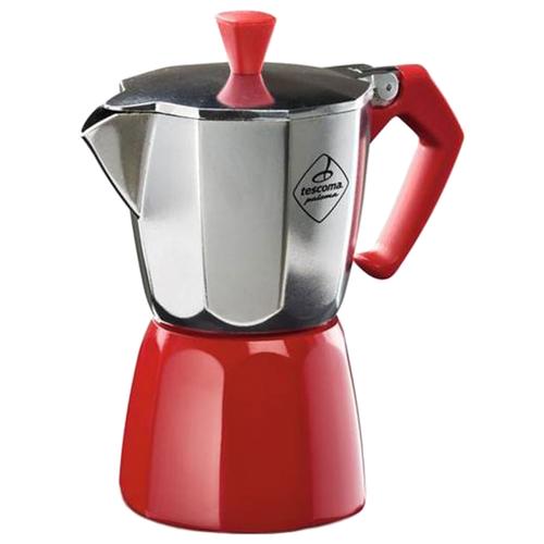 Гейзерная кофеварка Tescoma Paloma на 1 чашку, серебристый/красный