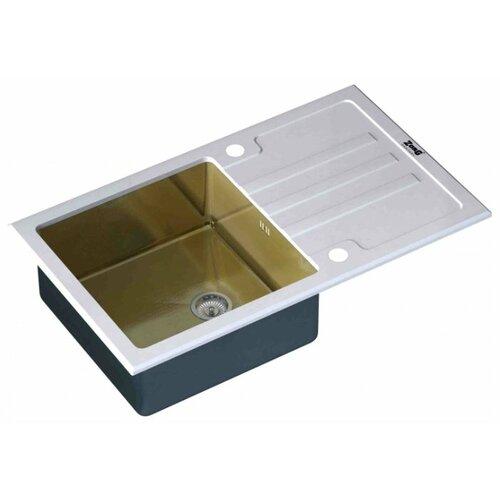 Врезная кухонная мойка 78 см ZorG INOX GL-7851 WHITE-BRONZE белая бронза интегрированная кухонная мойка 78 см zorg szr 7851 r bronze бронза