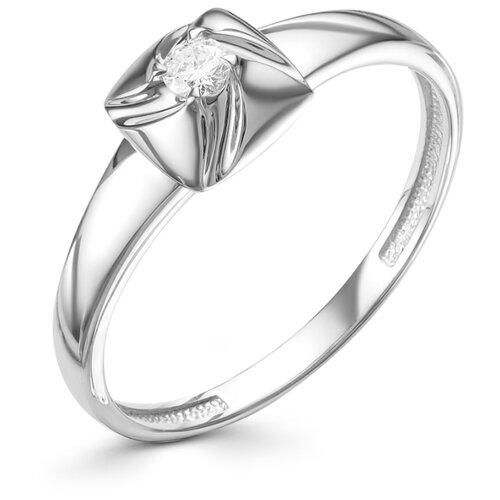 АЛЬКОР Кольцо с 1 бриллиантом из белого золота 12708-200, размер 17 алькор кольцо с 1 бриллиантом из белого золота 13299 200 размер 17
