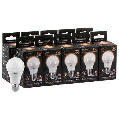 Упаковка светодиодных ламп 10 шт gauss 102502107, E27, A60, 7Вт упаковка светодиодных ламп 10 шт gauss 102502210 e27 a60 10вт
