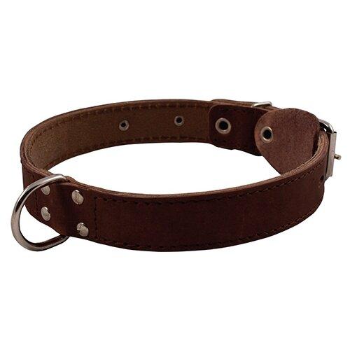 Ошейник КАСКАД Кожаный двойной с кольцом 39-46 см коричневый
