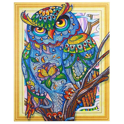 Купить Color Kit Набор алмазной вышивки с фигурными стразами Мудрая сова (FKU015) 40х50 см, Алмазная вышивка