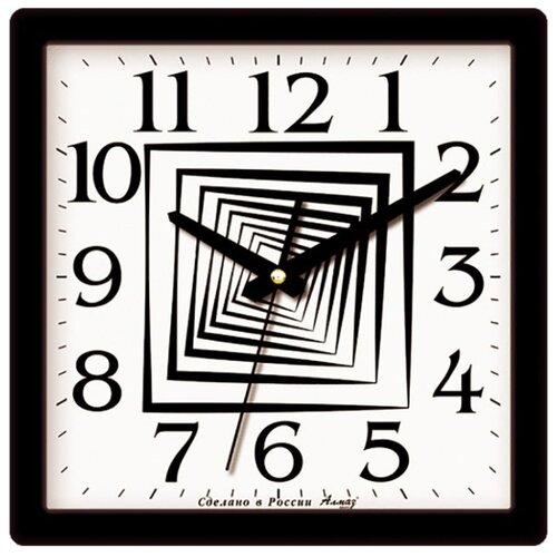 Часы настенные кварцевые Алмаз M28 черный/белый часы настенные кварцевые алмаз p12 золотистый белый