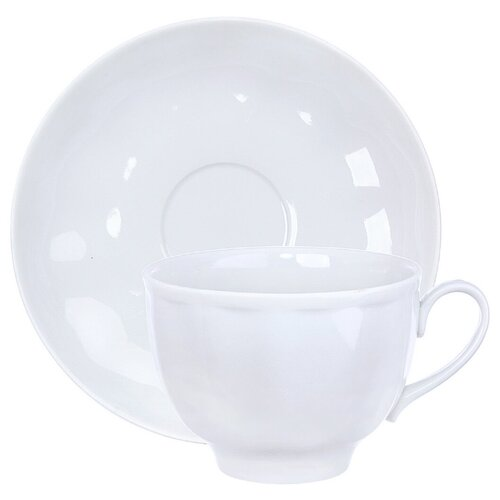 Дулёвский фарфор Чашка чайная с блюдцем Гранатовый 275 мл