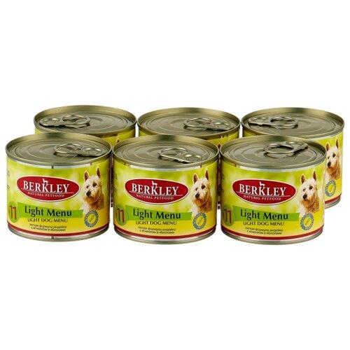 Фото - Влажный корм для собак Berkley (0.2 кг) 6 шт. Паштет для собак #11 Лёгкое меню индейка с ягненком и яблоками 6шт. х 200г влажный корм для собак berkley 0 4 кг 6 шт паштет для собак оленина с коричневым рисом 6шт х 400г