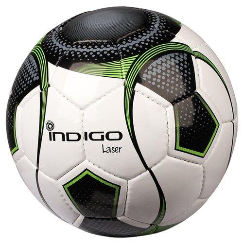 Футбольный мяч Indigo LASER B00 белый/черный/зеленый 5Мячи<br>