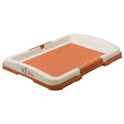 Туалет для собак V.I.Pet Японский стиль малый 48х35х6 см коричневый коричневый/молочный