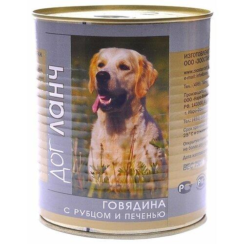 Корм для собак Dog Lunch (0.75 кг) 1 шт. Говядина с рубцом и печенью в желе для собак корм смайли говядина в желе 750g для собак 81069