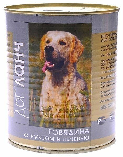 Корм для собак Dog Lunch Говядина с рубцом и печенью в желе для собак (0.75 кг) 9 шт.