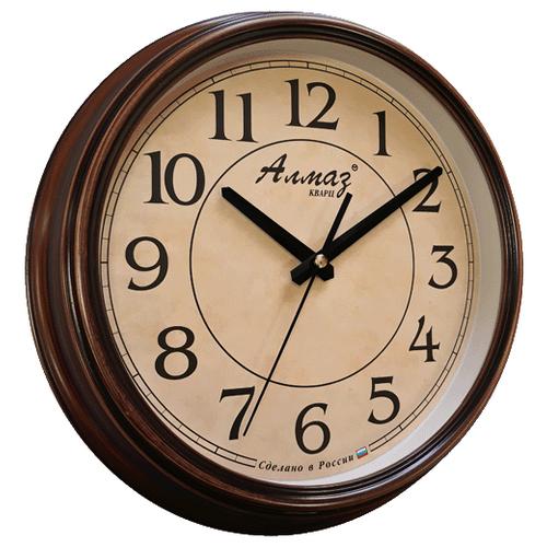 Часы настенные кварцевые Алмаз A20 бежевый/коричневый под дерево