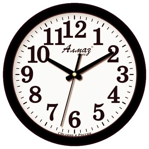 Часы настенные кварцевые Алмаз B01 белый/черный