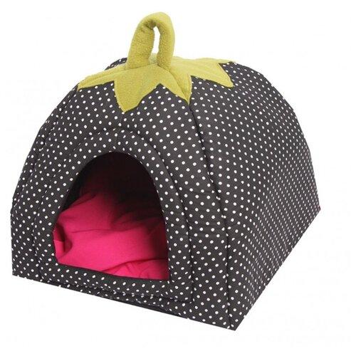 Домик для кошек, для собак Lion Ягодка М 45х45х40 см черныйЛежаки, домики, спальные места<br>