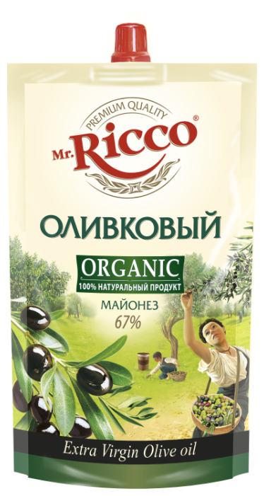 Майонез Mr.Ricco Organic оливковый 67%, 400 г.
