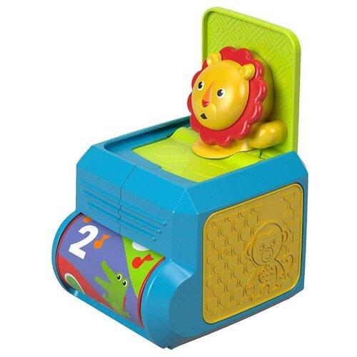 Интерактивная развивающая игрушка Fisher-Price Музыкальная шкатулка с сюрпризом Львенок FHF77 синий/зеленый/красный mattel развивающая игрушка fisher price слоник с шариками