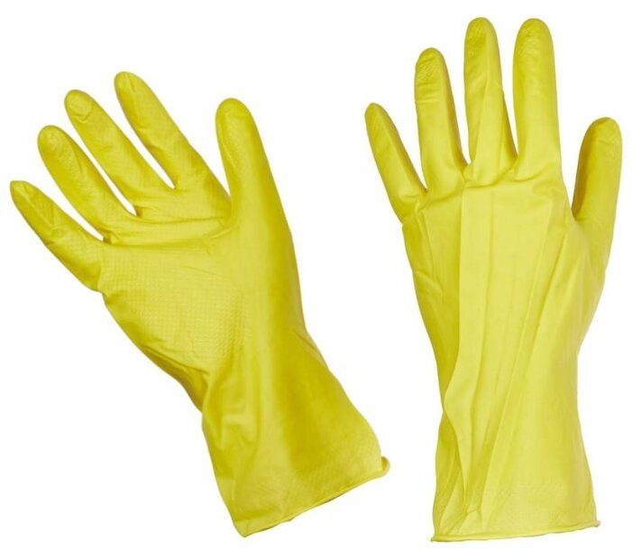 Перчатки латексные с хлопковым напылением Household Gloves, размер 10 (XL), 1 пара