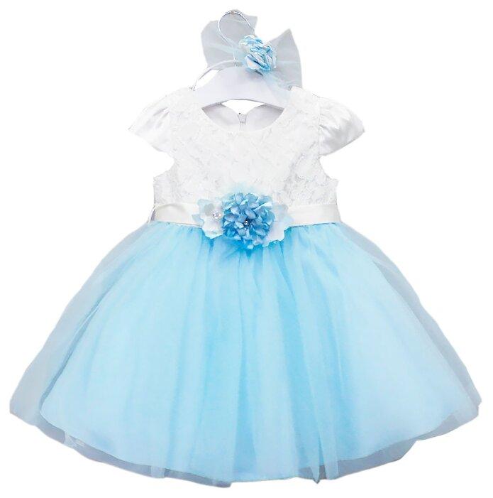 Платье Misse размер 92, голубой/белый