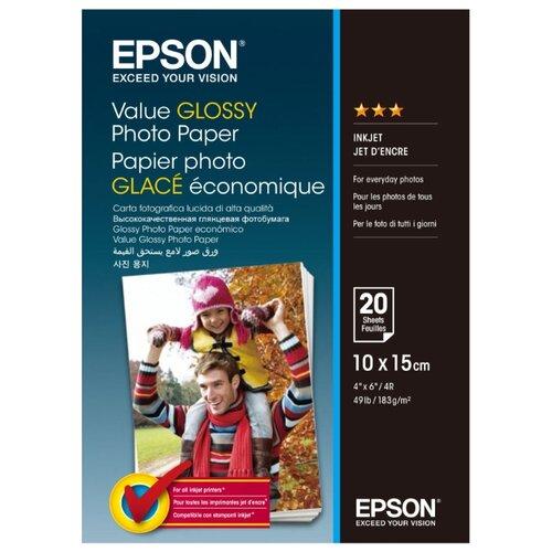 Фото - Бумага Epson A6 Value Glossy Photo Paper 183 г/м² 20 лист. бумага epson a4 premium glossy photo paper c13s041624 255г м2 50 лист белый