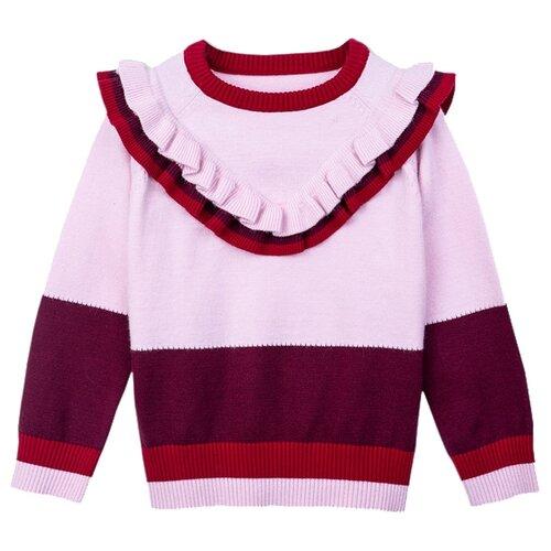 Купить Джемпер playToday размер 116, светло-розовый/темно-красный/бордовый, Свитеры и кардиганы