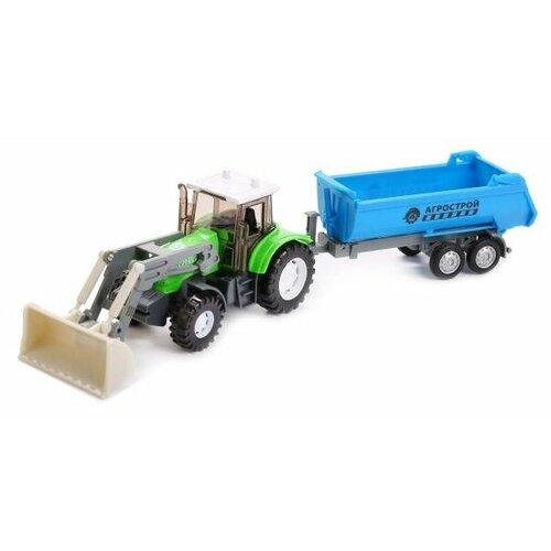 Купить Трактор ТЕХНОПАРК Агрострой (U1402E-8) зеленый/голубой, Машинки и техника