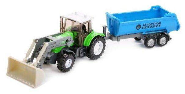Технопарк Трактор Агрострой, металлический, с прицепом и подвижными элементами