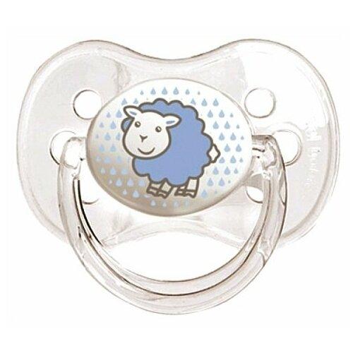 Купить Пустышка силиконовая классическая Canpol Babies Transparent 0-6 м (1 шт) голубой, Пустышки и аксессуары